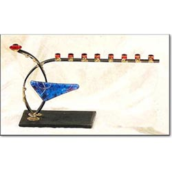 Menorah With Glass Triangle rosenthal by Gary Rosenthal