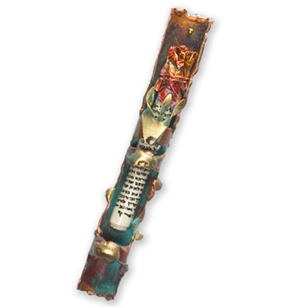 Mixed Metal Mezuzah with Patina rosenthal by Gary Rosenthal