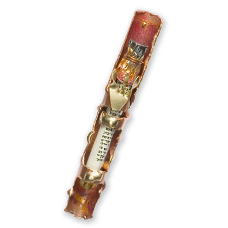 Mixed Metal Mezuzah with Copper rosenthal by Gary Rosenthal