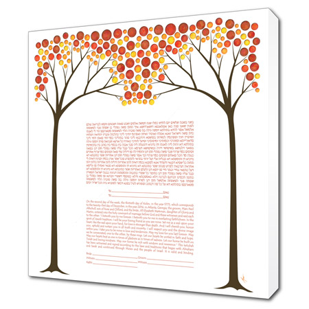 An Autumn Night's Dream  Ketubah -- shown with optional Museum Wrap