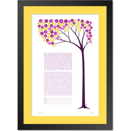 A Spring Daydream  Ketubah -- shown with optional framing