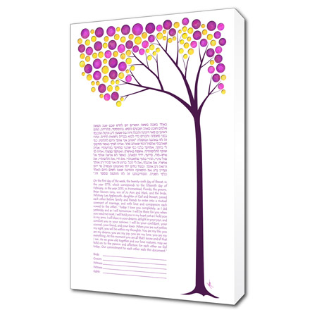 A Spring Daydream  Ketubah -- shown with optional Museum Wrap
