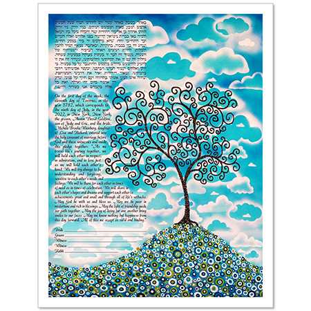 Blue Skies  Ketubah by Lisa Loudermilk