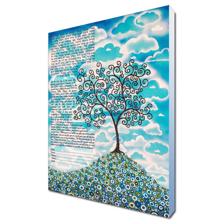 Blue Skies  Ketubah -- shown with optional Museum Wrap