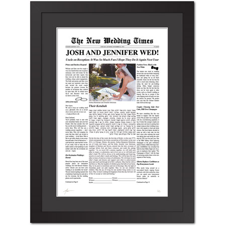 Extra! Extra! Read All About It I  Ketubah -- shown with optional framing