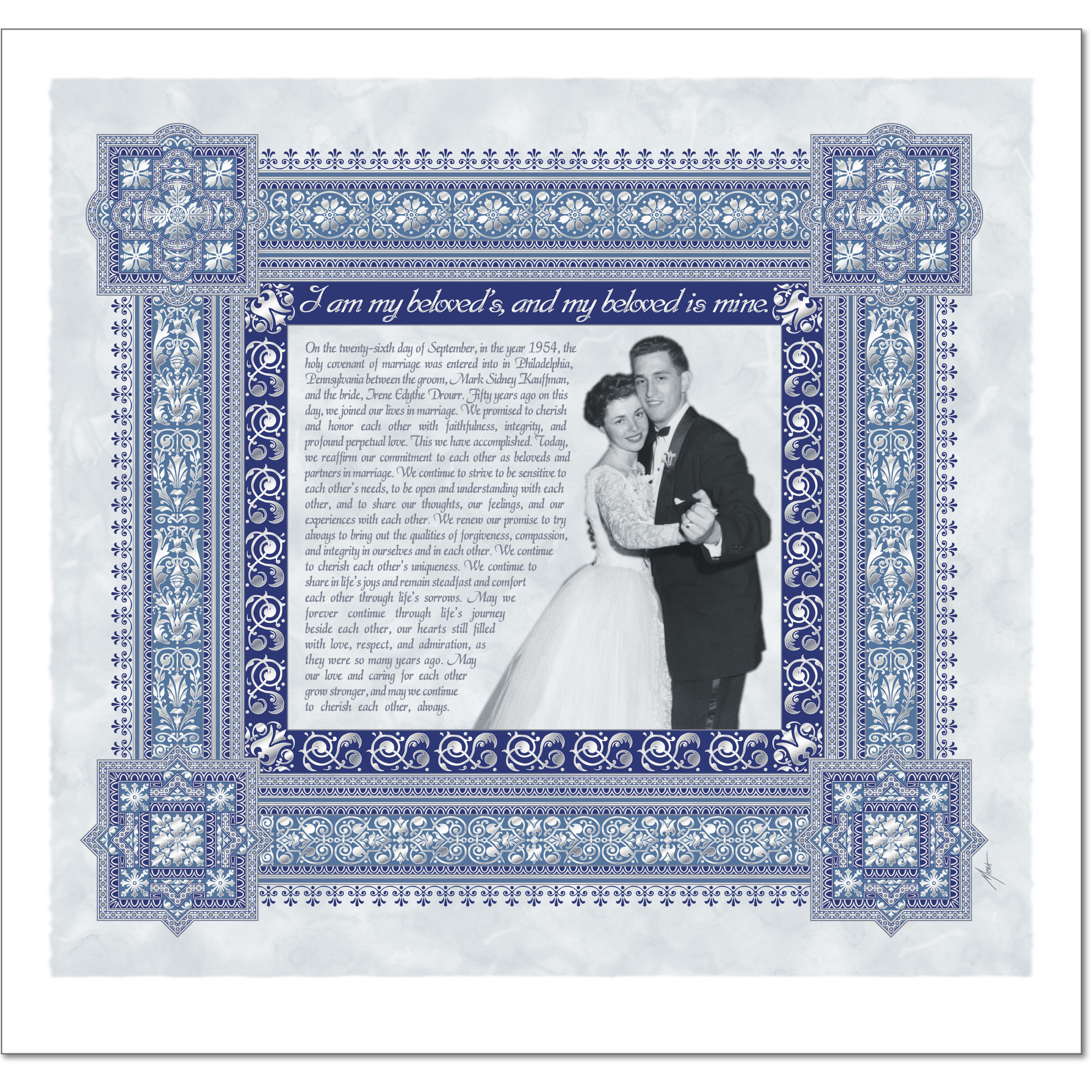 Gift of Love - Silver - English Only Ketubah  Ketubah by Micah Parker