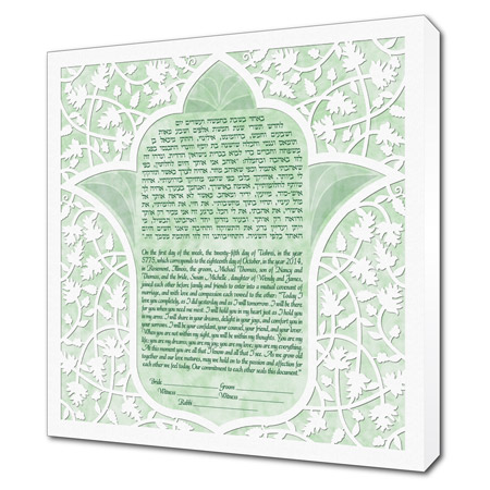 Lotus Hamsa III  Ketubah -- shown with optional Museum Wrap