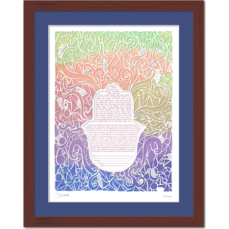 Radiant Love III  Ketubah -- shown with optional framing