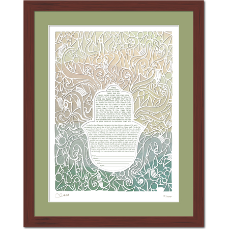 Radiant Love IV  Ketubah -- shown with optional framing