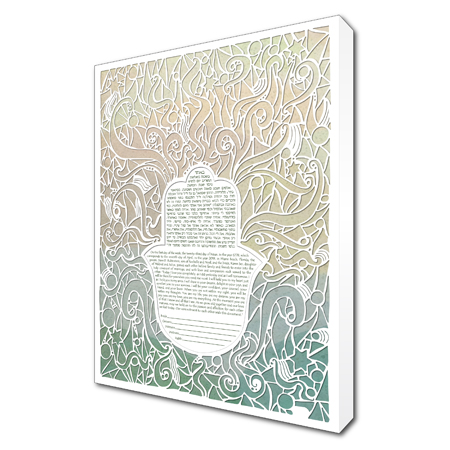 Radiant Love IV  Ketubah -- shown with optional Museum Wrap