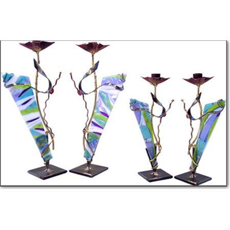 Bridal Sabbath Candlesticks  Judaica by Gary Rosenthal