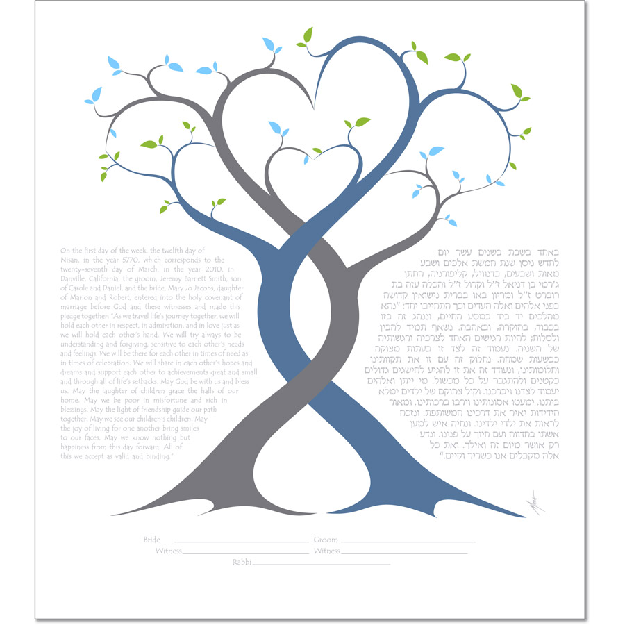 A Lover's Embrace III Ketubah by Micah Parker.