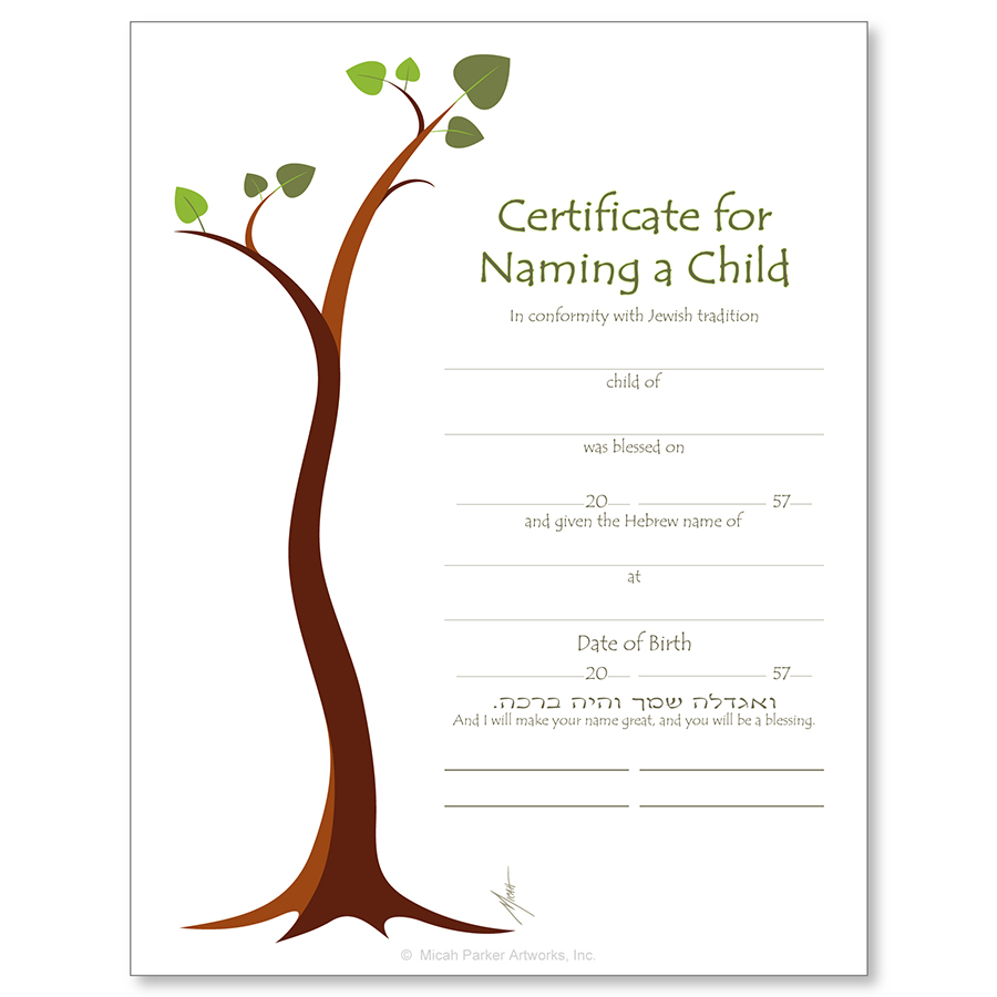 Jewish life cycle certificates bar and bat mitzvah for Naming a guardian for your child template