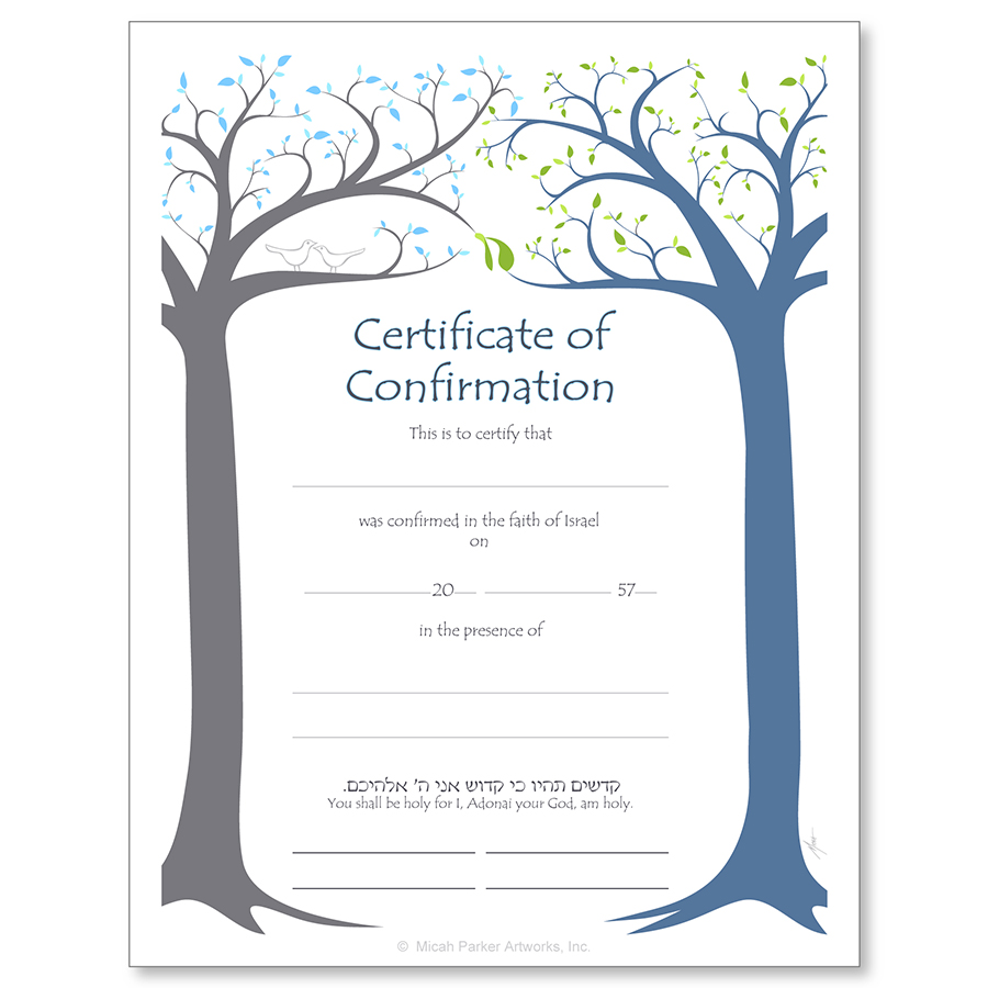 Jewish LifeCycle Certificates Bar and Bat Mitzvah Confirmation
